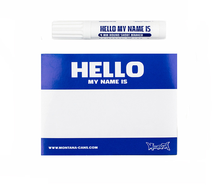 Montana ''Hello my name is'' Blue 100pcs Stickers & Marker set