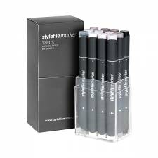 Stylefile Marker Warm Grey 12pcs set